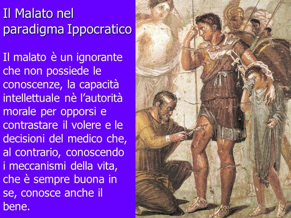 Il Malato nel paradigma Ippocratico Il malato è un ignorante che non possiede le conoscenze, la capacità intellettuale nè lautorità morale per opporsi