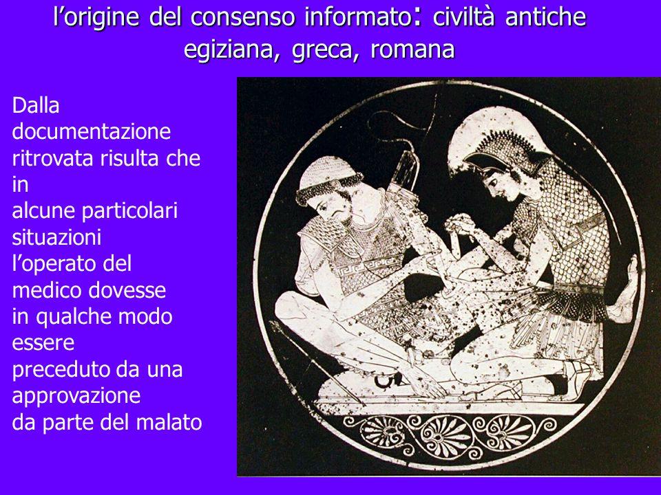 lorigine del consenso informato : civiltà antiche egiziana, greca, romana Dalla documentazione ritrovata risulta che in alcune particolari situazioni