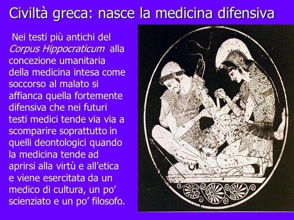 Civiltà greca: nasce la medicina difensiva Nei testi più antichi del Corpus Hippocraticum alla concezione umanitaria della medicina intesa come soccor