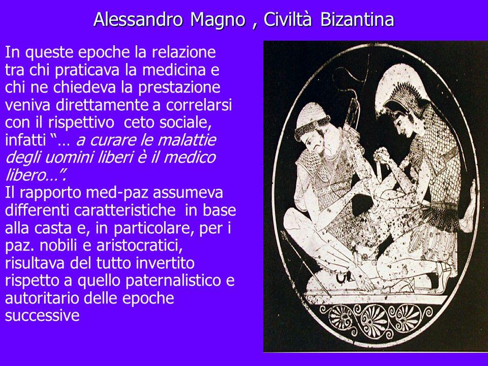 Alessandro Magno, Civiltà Bizantina In queste epoche la relazione tra chi praticava la medicina e chi ne chiedeva la prestazione veniva direttamente a