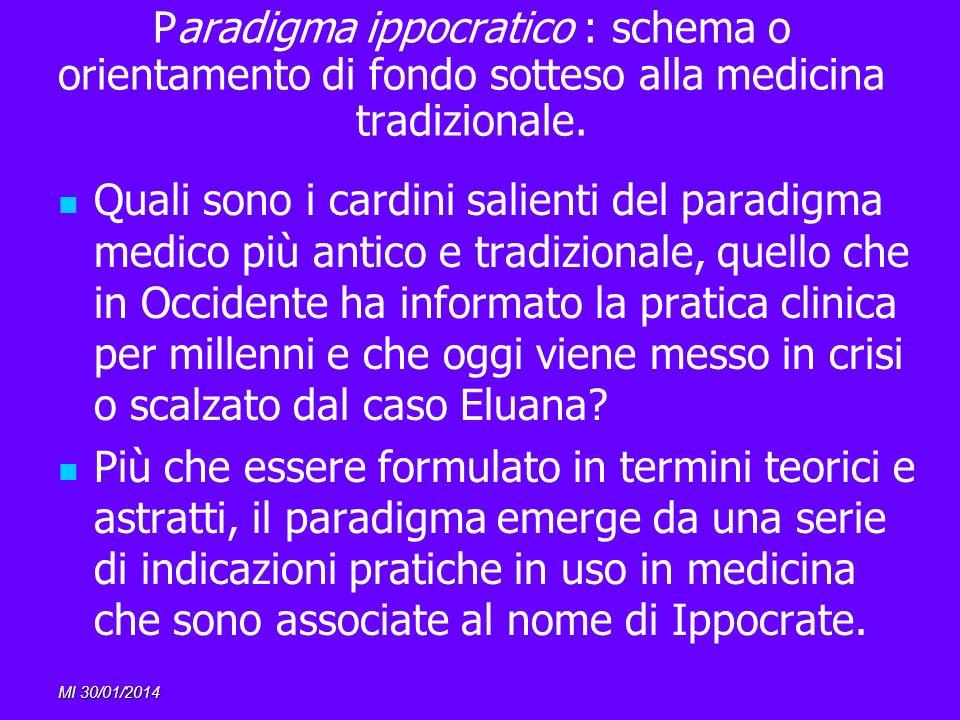 MI 30/01/2014 Paradigma ippocratico : schema o orientamento di fondo sotteso alla medicina tradizionale. Quali sono i cardini salienti del paradigma m