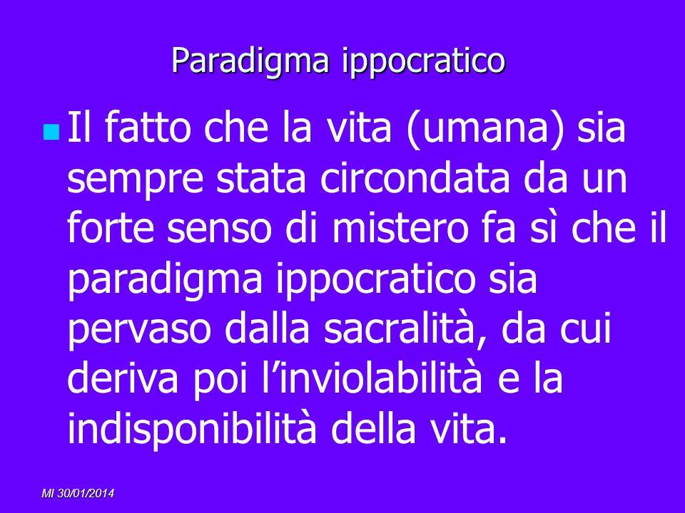 MI 30/01/2014 Paradigma ippocratico Il fatto che la vita (umana) sia sempre stata circondata da un forte senso di mistero fa sì che il paradigma ippoc