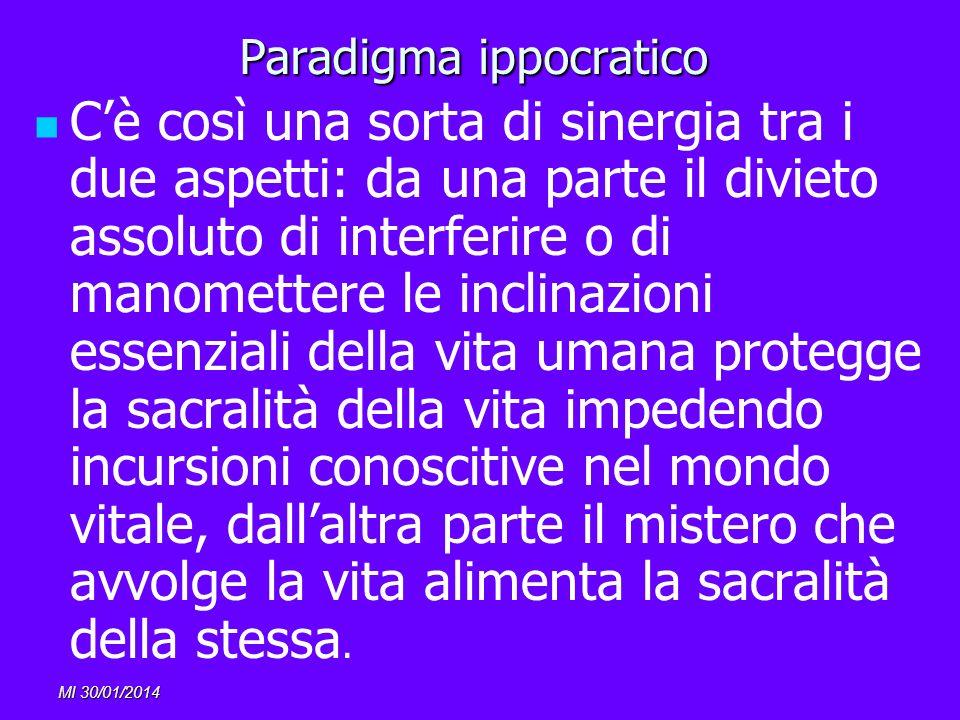 MI 30/01/2014 Paradigma ippocratico Cè così una sorta di sinergia tra i due aspetti: da una parte il divieto assoluto di interferire o di manomettere