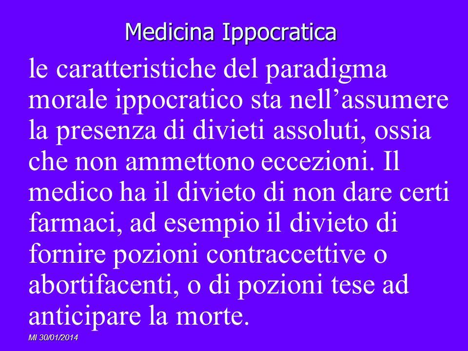 MI 30/01/2014 Medicina Ippocratica le caratteristiche del paradigma morale ippocratico sta nellassumere la presenza di divieti assoluti, ossia che non