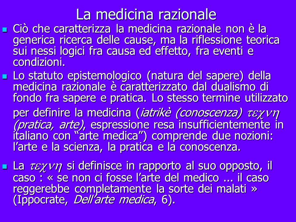 La medicina razionale Ciò che caratterizza la medicina razionale non è la generica ricerca delle cause, ma la riflessione teorica sui nessi logici fra