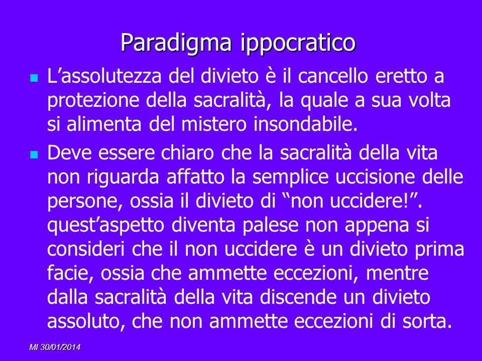 MI 30/01/2014 Paradigma ippocratico Lassolutezza del divieto è il cancello eretto a protezione della sacralità, la quale a sua volta si alimenta del m
