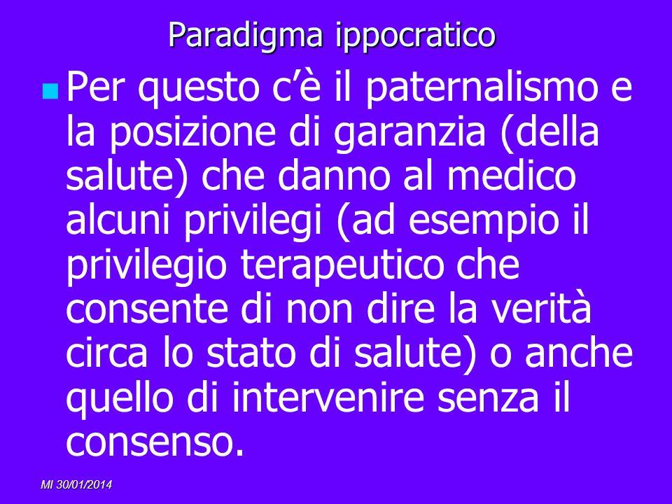 MI 30/01/2014 Paradigma ippocratico Per questo cè il paternalismo e la posizione di garanzia (della salute) che danno al medico alcuni privilegi (ad e
