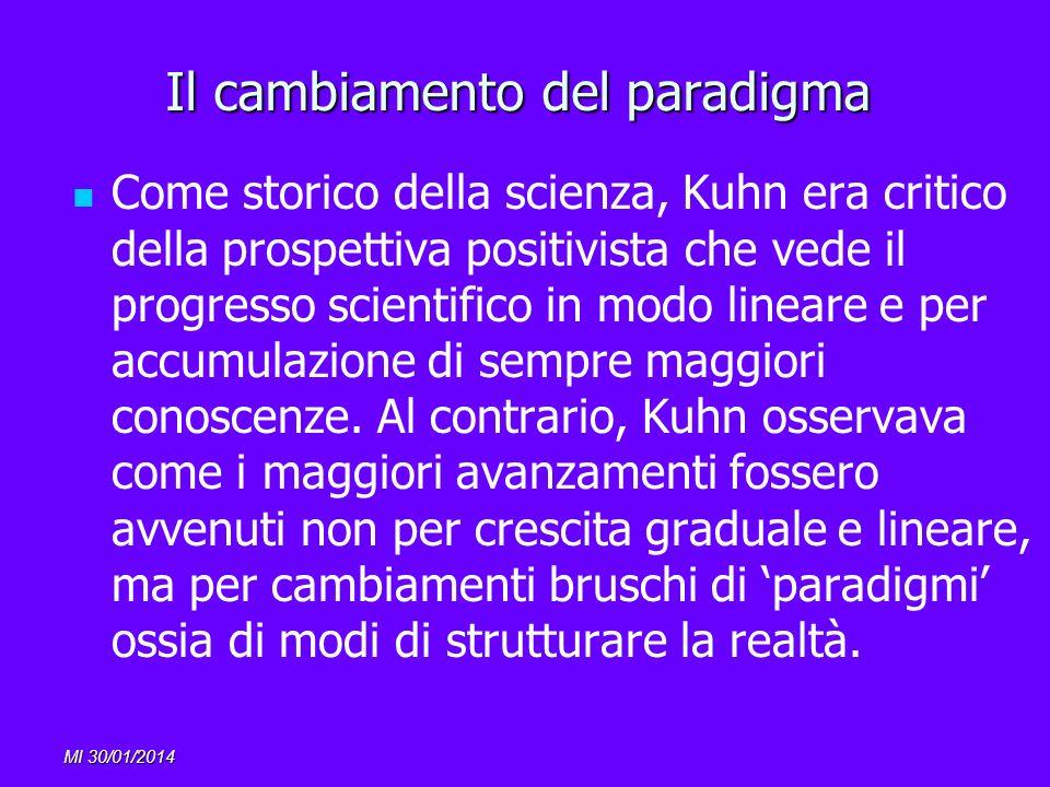 MI 30/01/2014 Il cambiamento del paradigma Come storico della scienza, Kuhn era critico della prospettiva positivista che vede il progresso scientific