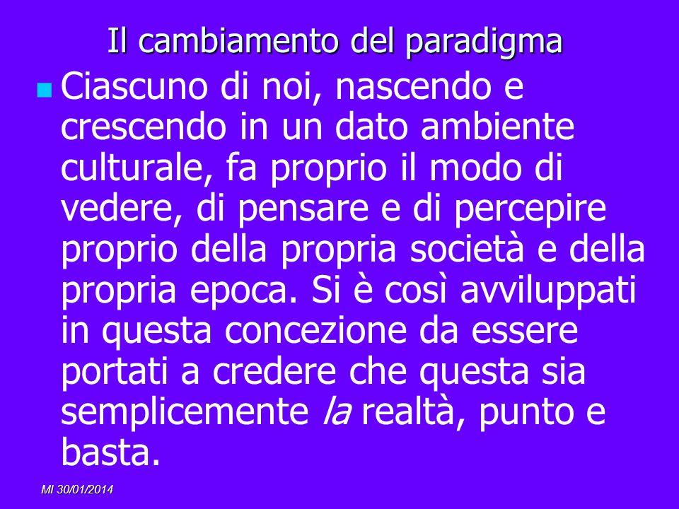 MI 30/01/2014 Il cambiamento del paradigma Ciascuno di noi, nascendo e crescendo in un dato ambiente culturale, fa proprio il modo di vedere, di pensa