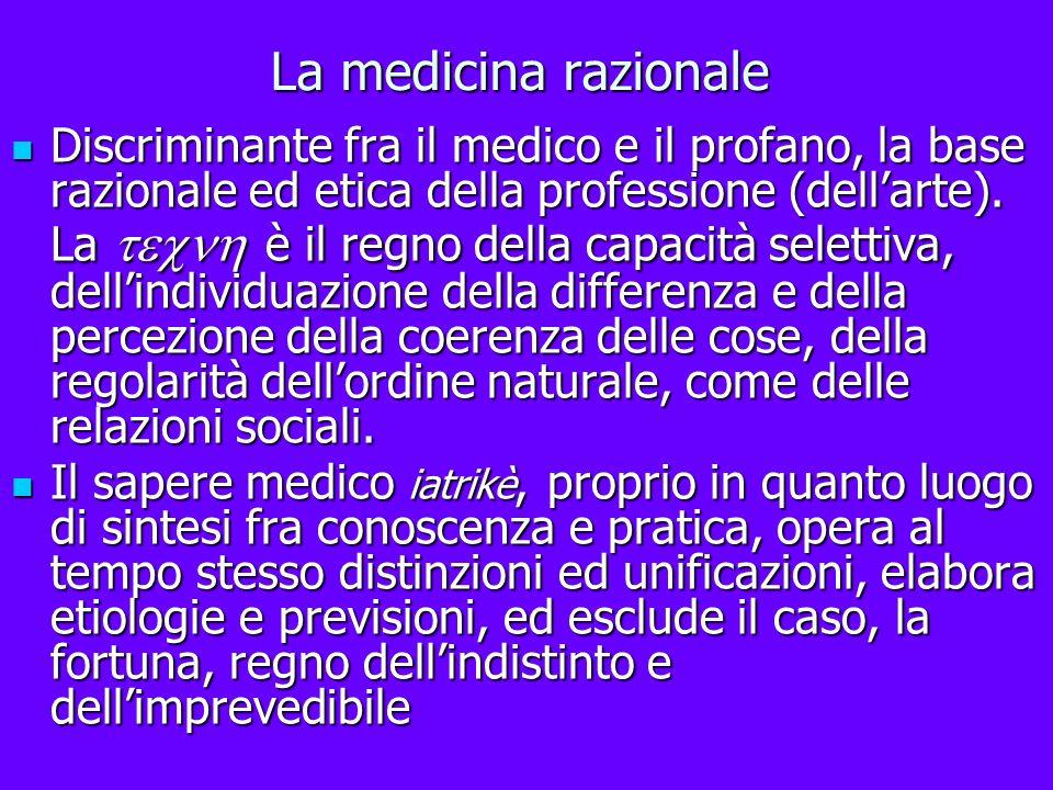 La medicina razionale Discriminante fra il medico e il profano, la base razionale ed etica della professione (dellarte). La è il regno della capacità