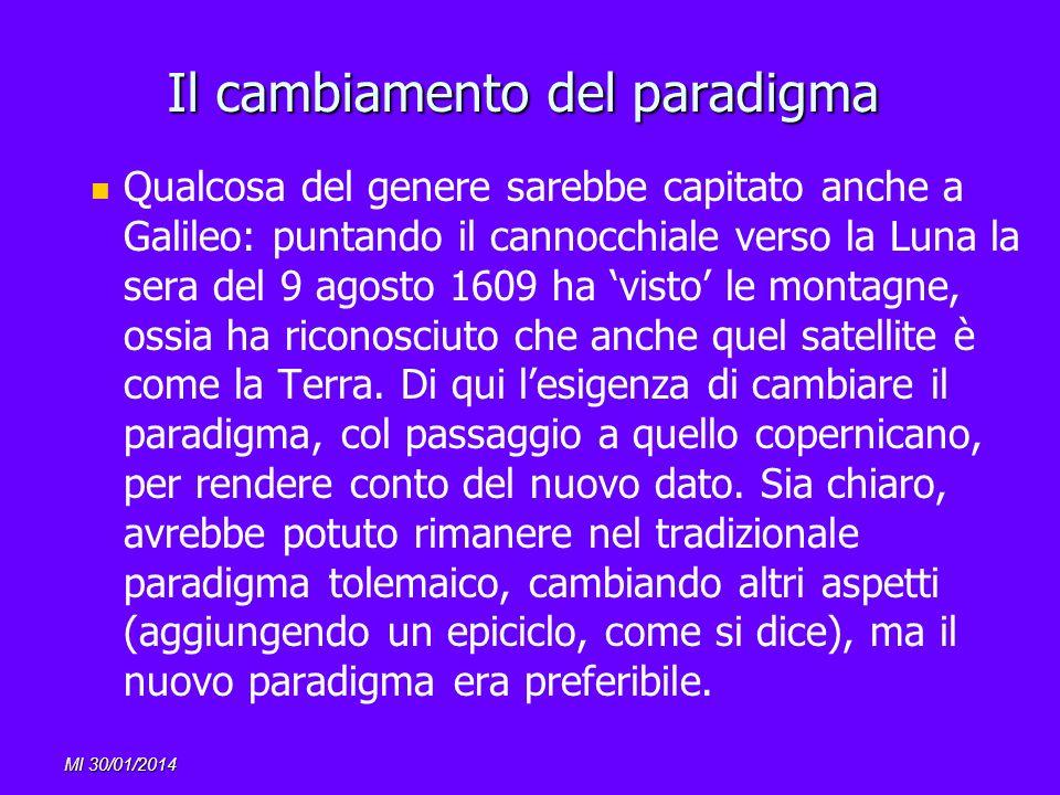 Il cambiamento del paradigma Qualcosa del genere sarebbe capitato anche a Galileo: puntando il cannocchiale verso la Luna la sera del 9 agosto 1609 ha