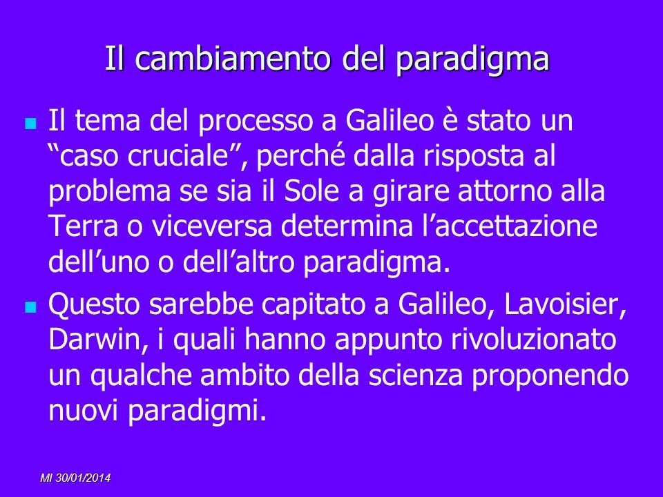MI 30/01/2014 Il cambiamento del paradigma Il tema del processo a Galileo è stato un caso cruciale, perché dalla risposta al problema se sia il Sole a
