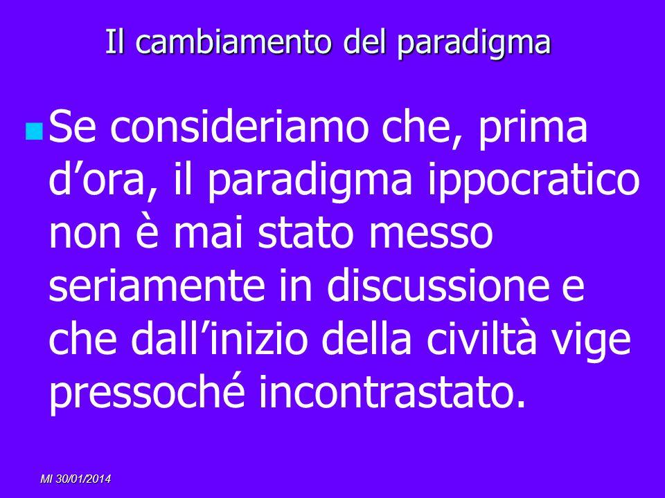 MI 30/01/2014 Il cambiamento del paradigma Se consideriamo che, prima dora, il paradigma ippocratico non è mai stato messo seriamente in discussione e