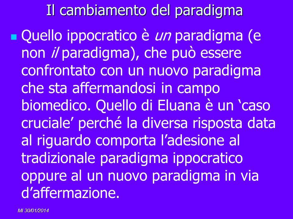 MI 30/01/2014 Il cambiamento del paradigma Quello ippocratico è un paradigma (e non il paradigma), che può essere confrontato con un nuovo paradigma c