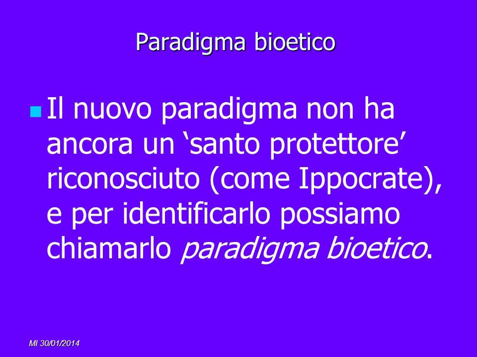 MI 30/01/2014 Paradigma bioetico Il nuovo paradigma non ha ancora un santo protettore riconosciuto (come Ippocrate), e per identificarlo possiamo chia