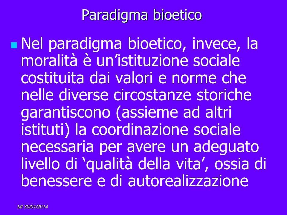 MI 30/01/2014 Paradigma bioetico Nel paradigma bioetico, invece, la moralità è unistituzione sociale costituita dai valori e norme che nelle diverse c