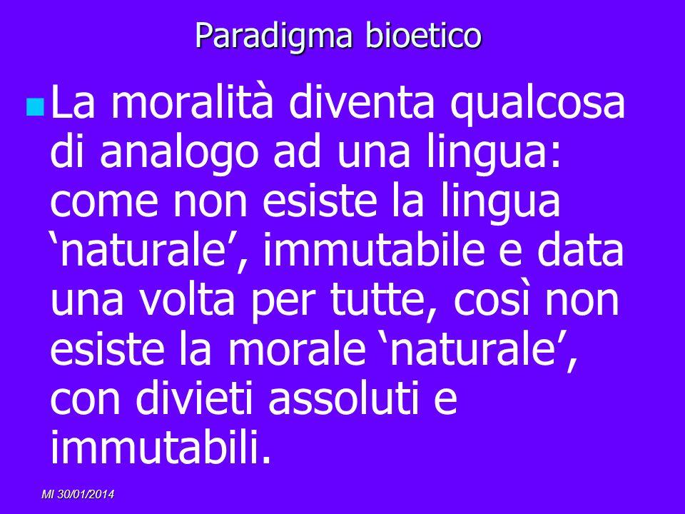 MI 30/01/2014 Paradigma bioetico La moralità diventa qualcosa di analogo ad una lingua: come non esiste la lingua naturale, immutabile e data una volt