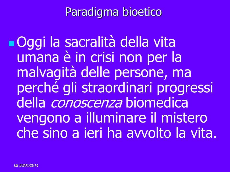 MI 30/01/2014 Paradigma bioetico Oggi la sacralità della vita umana è in crisi non per la malvagità delle persone, ma perché gli straordinari progress