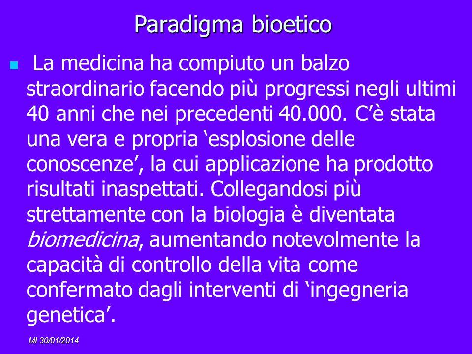 MI 30/01/2014 Paradigma bioetico La medicina ha compiuto un balzo straordinario facendo più progressi negli ultimi 40 anni che nei precedenti 40.000.