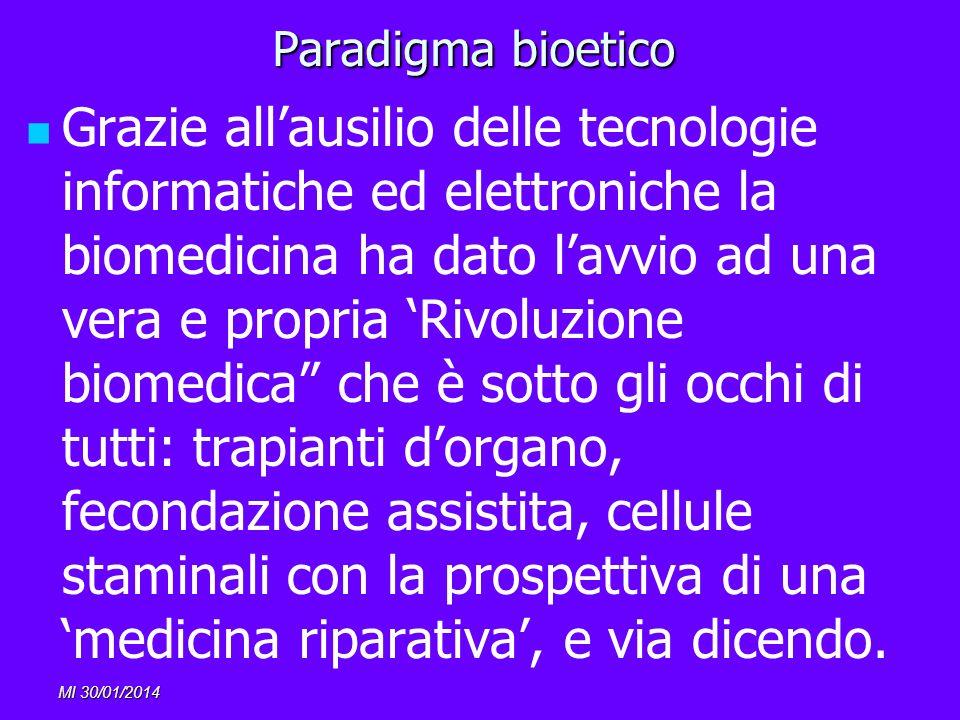 MI 30/01/2014 Paradigma bioetico Grazie allausilio delle tecnologie informatiche ed elettroniche la biomedicina ha dato lavvio ad una vera e propria R