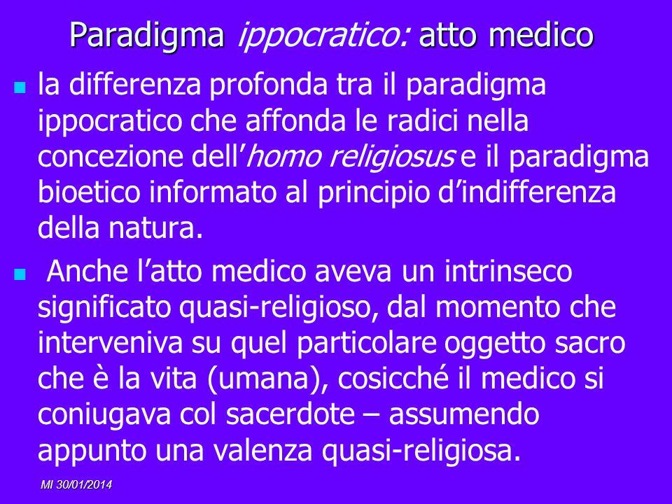 MI 30/01/2014 Paradigma atto medico Paradigma ippocratico: atto medico la differenza profonda tra il paradigma ippocratico che affonda le radici nella