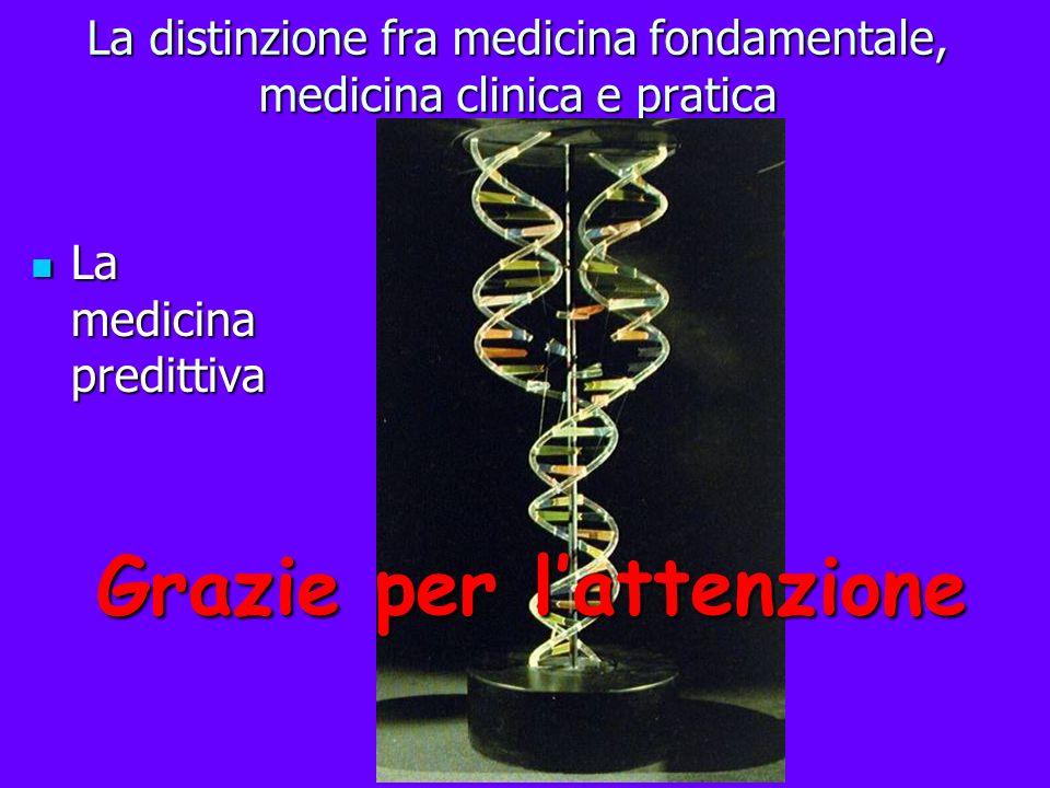 La distinzione fra medicina fondamentale, medicina clinica e pratica La medicina predittiva La medicina predittiva Grazie per lattenzione