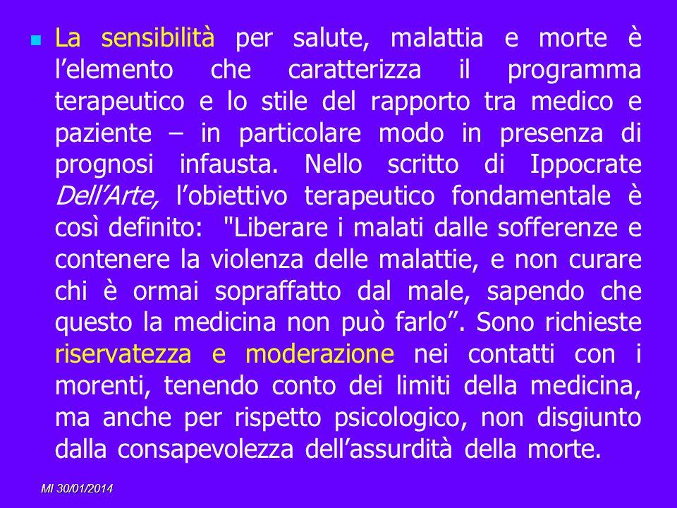 MI 30/01/2014 La sensibilità per salute, malattia e morte è lelemento che caratterizza il programma terapeutico e lo stile del rapporto tra medico e p