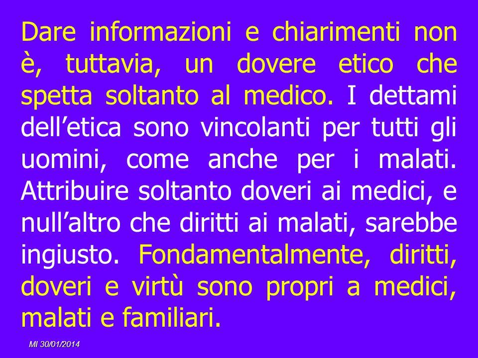 MI 30/01/2014 Dare informazioni e chiarimenti non è, tuttavia, un dovere etico che spetta soltanto al medico. I dettami delletica sono vincolanti per