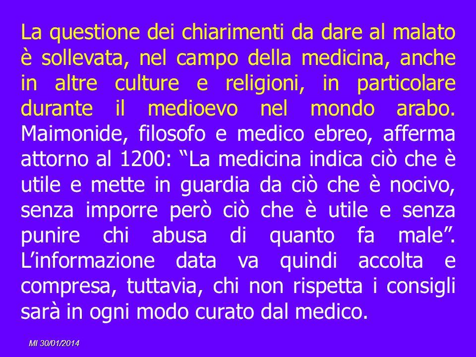 La questione dei chiarimenti da dare al malato è sollevata, nel campo della medicina, anche in altre culture e religioni, in particolare durante il me