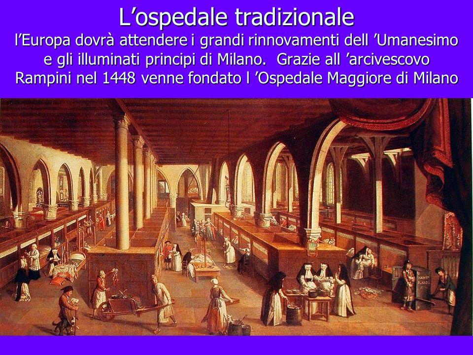 Lospedale tradizionale lEuropa dovrà attendere i grandi rinnovamenti dell Umanesimo e gli illuminati principi di Milano. Grazie all arcivescovo Rampin