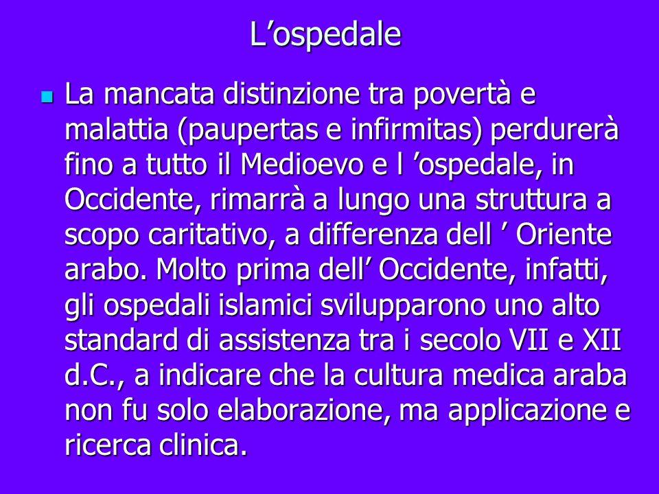 Lospedale La mancata distinzione tra povertà e malattia (paupertas e infirmitas) perdurerà fino a tutto il Medioevo e l ospedale, in Occidente, rimarr