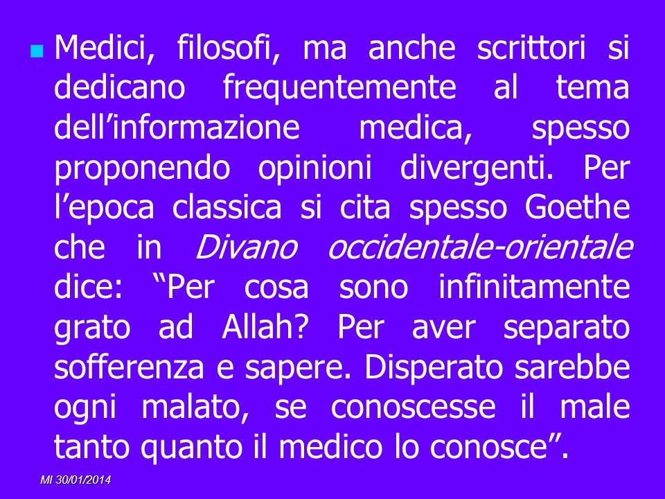 MI 30/01/2014 Medici, filosofi, ma anche scrittori si dedicano frequentemente al tema dellinformazione medica, spesso proponendo opinioni divergenti.