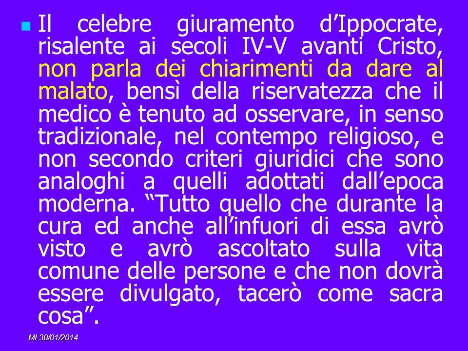 MI 30/01/2014 Il celebre giuramento dIppocrate, risalente ai secoli IV-V avanti Cristo, non parla dei chiarimenti da dare al malato, bensì della riser