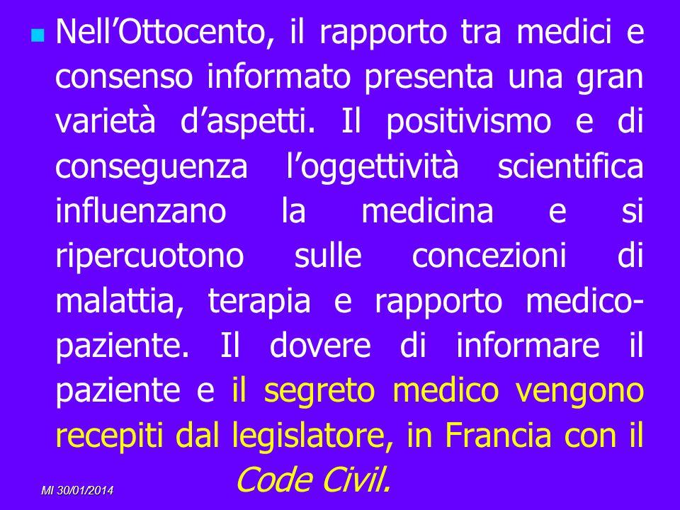 MI 30/01/2014 NellOttocento, il rapporto tra medici e consenso informato presenta una gran varietà daspetti. Il positivismo e di conseguenza loggettiv