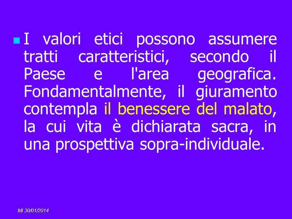 MI 30/01/2014 I valori etici possono assumere tratti caratteristici, secondo il Paese e l'area geografica. Fondamentalmente, il giuramento contempla i