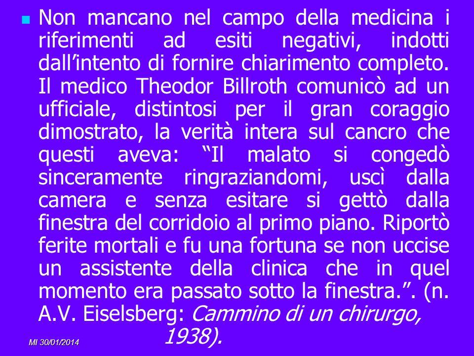 MI 30/01/2014 Non mancano nel campo della medicina i riferimenti ad esiti negativi, indotti dallintento di fornire chiarimento completo. Il medico The