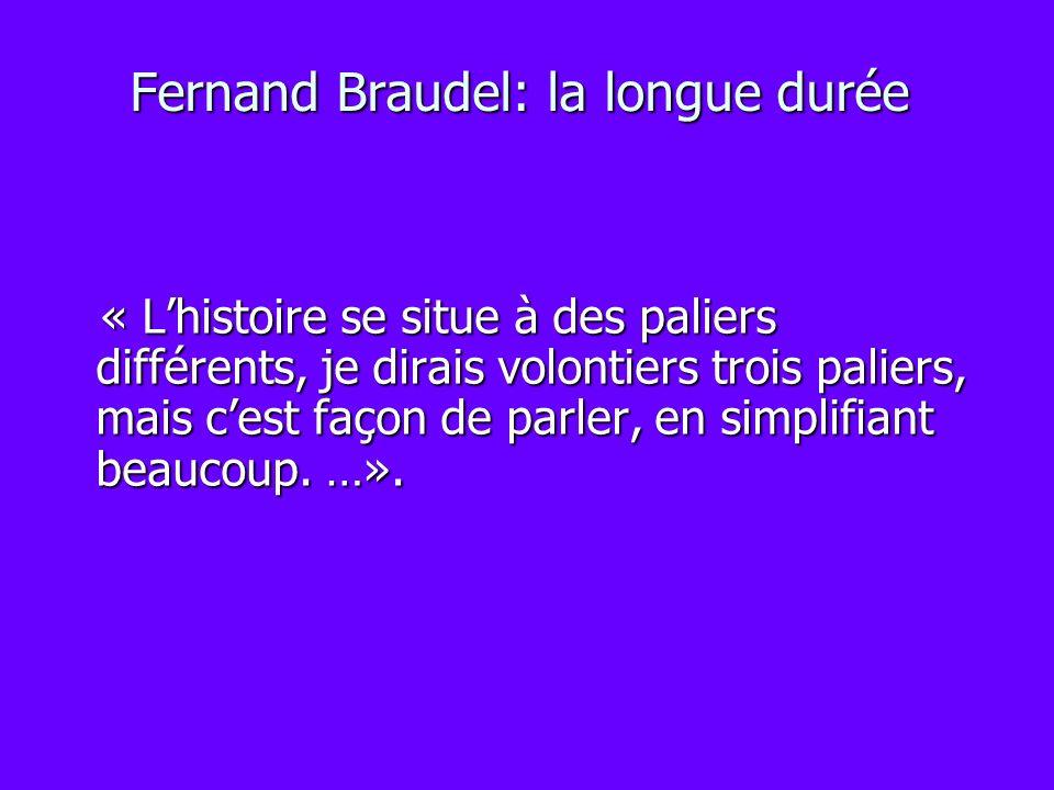 Fernand Braudel: la longue durée « Lhistoire se situe à des paliers différents, je dirais volontiers trois paliers, mais cest façon de parler, en simp