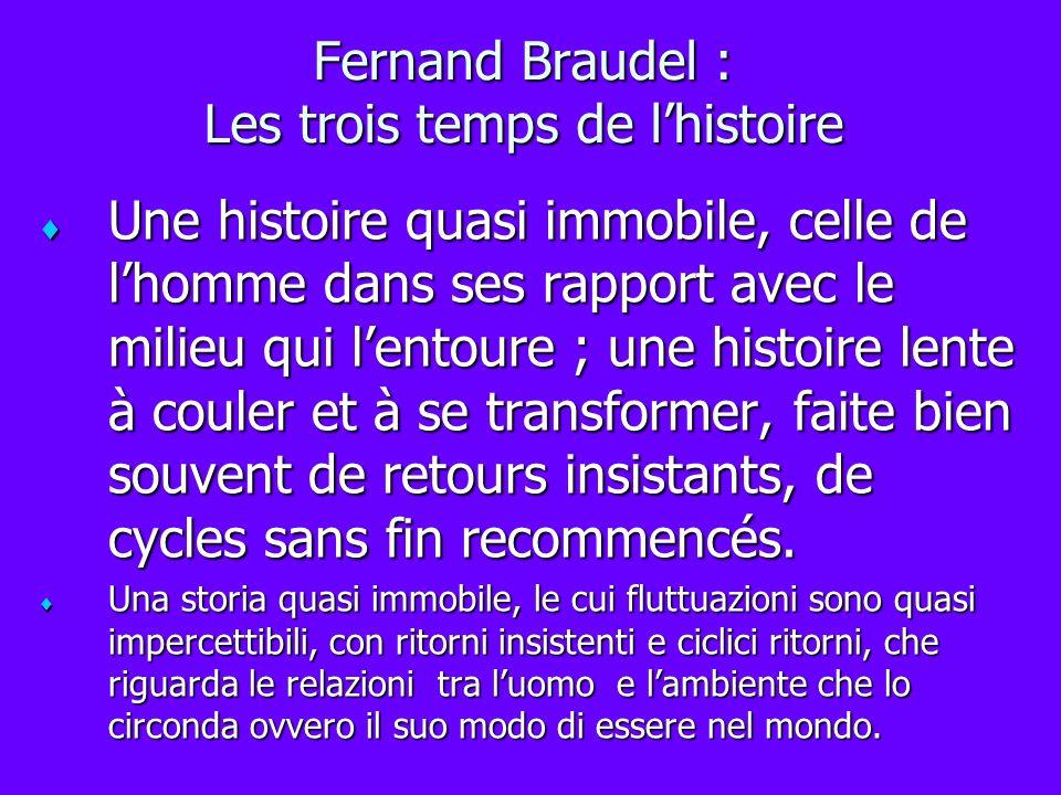 Fernand Braudel : Les trois temps de lhistoire Une histoire quasi immobile, celle de lhomme dans ses rapport avec le milieu qui lentoure ; une histoir