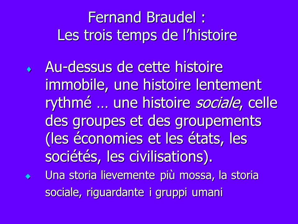 Fernand Braudel : Les trois temps de lhistoire Au-dessus de cette histoire immobile, une histoire lentement rythmé … une histoire sociale, celle des g