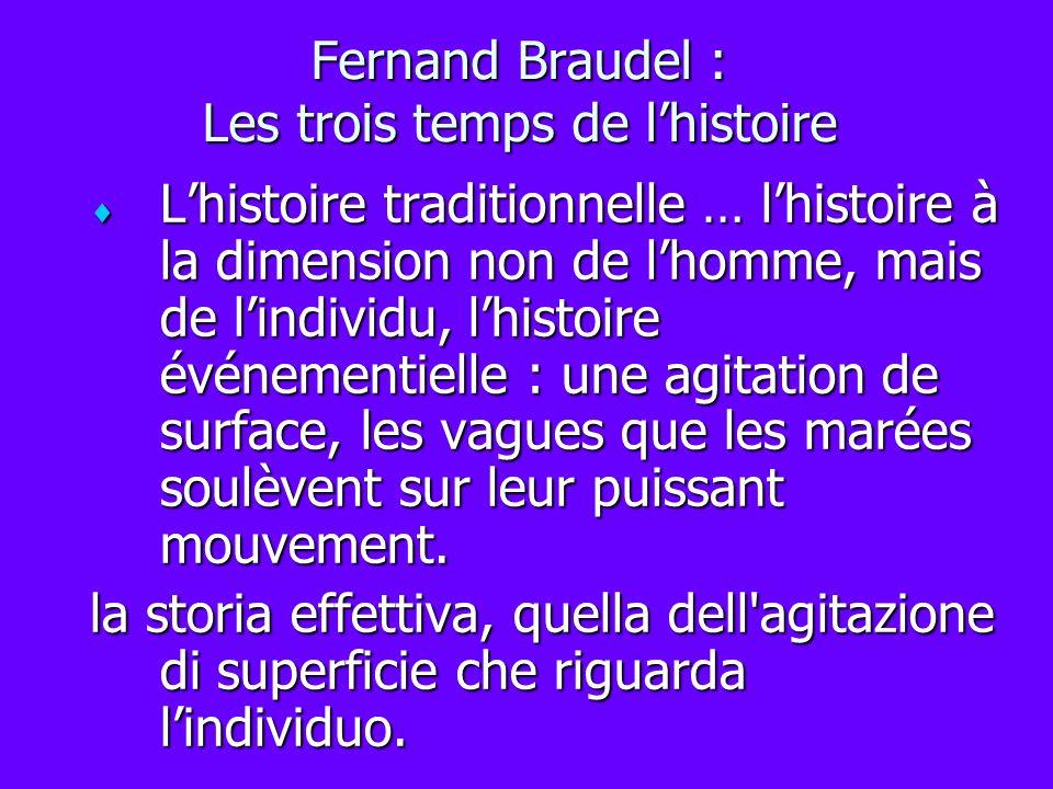 Fernand Braudel : Les trois temps de lhistoire Lhistoire traditionnelle … lhistoire à la dimension non de lhomme, mais de lindividu, lhistoire événeme