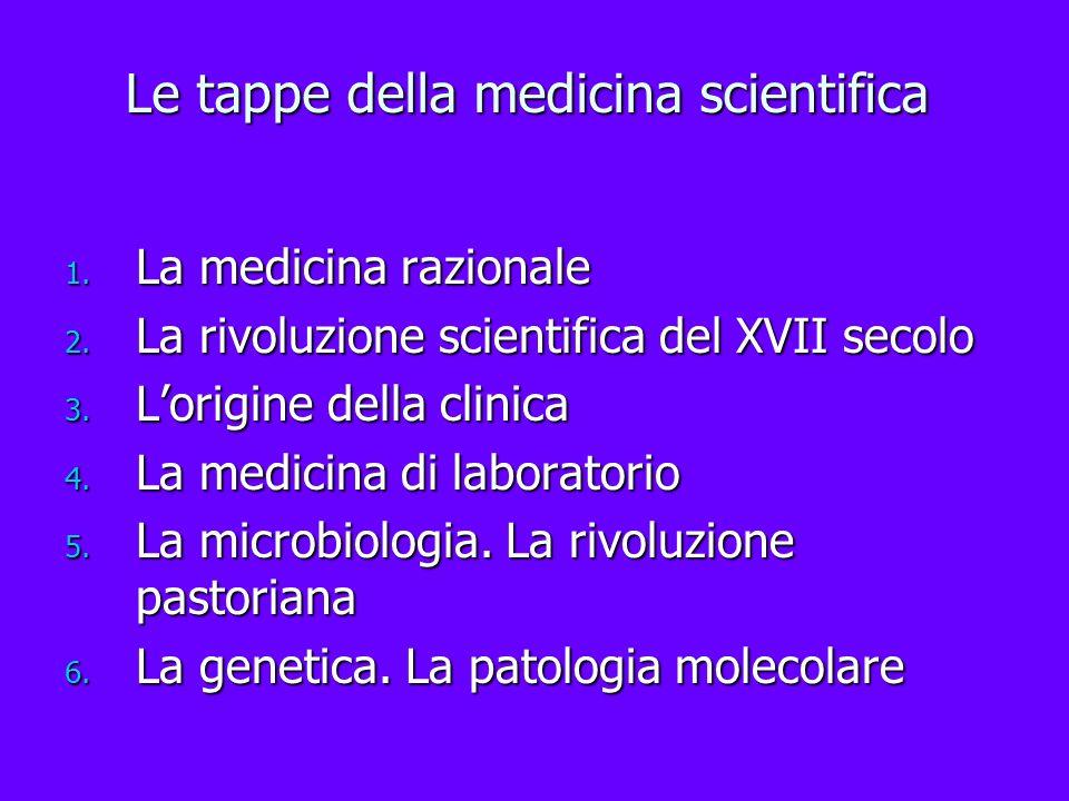 Le tappe della medicina scientifica 1. La medicina razionale 2. La rivoluzione scientifica del XVII secolo 3. Lorigine della clinica 4. La medicina di