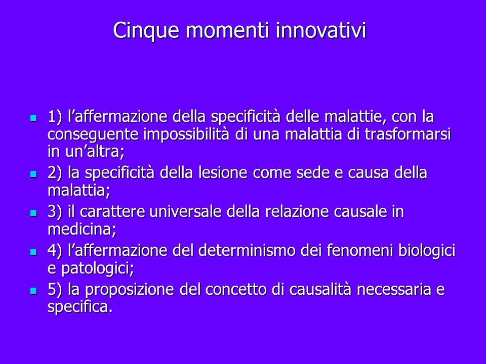 Cinque momenti innovativi 1) laffermazione della specificità delle malattie, con la conseguente impossibilità di una malattia di trasformarsi in unalt