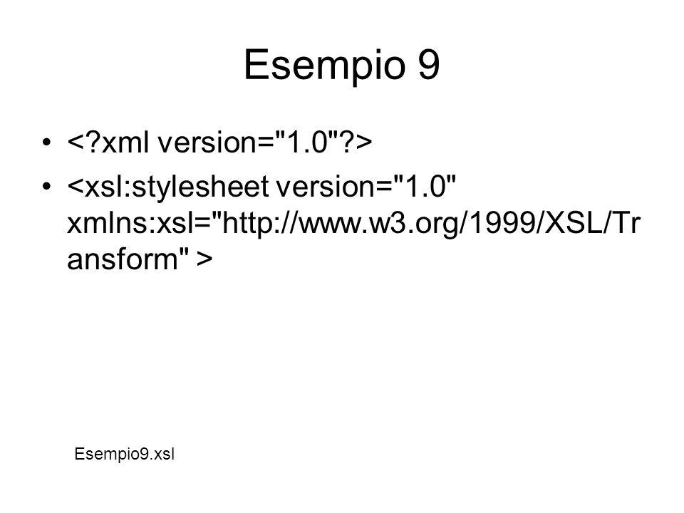 XSL:TEMPLATE o il template (o modello) si applica al pattern definito con l attributo match ; il pattern consiste nella semplice espressione / , che significa il root element del documento in questione (cioe` l elemento DOCUMENTO ); il resto è semplice markup di HTML.