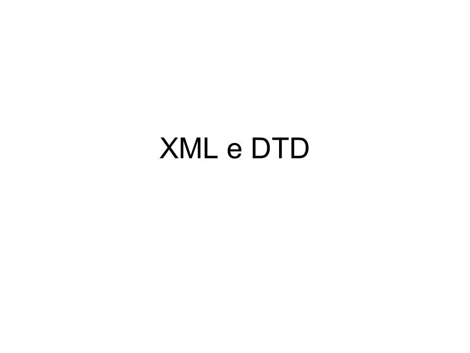 Attributi e DTD <!ATTLIST nome NomeAttributo TYPE ValoreDefault NomeAttributo TYPE ValoreDefault >