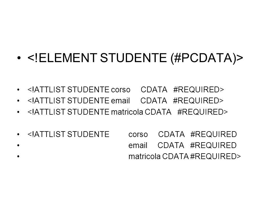 <!ATTLIST STUDENTE corso CDATA #REQUIRED email CDATA #REQUIRED matricola CDATA #REQUIRED>