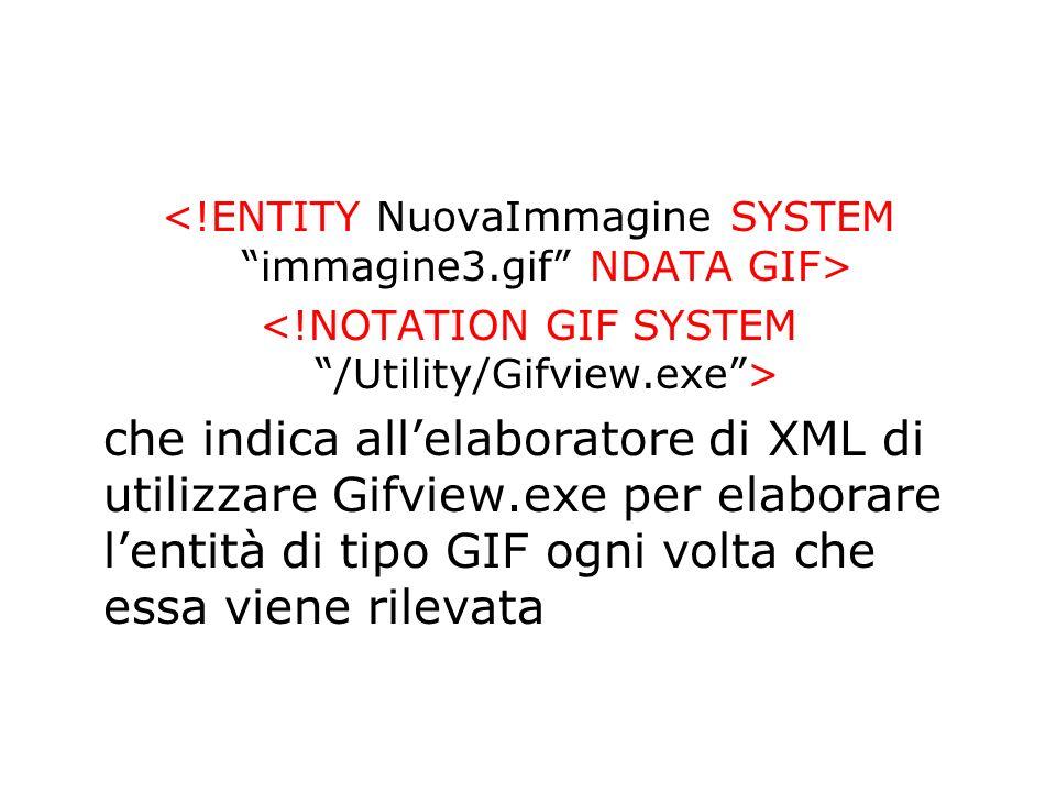 che indica allelaboratore di XML di utilizzare Gifview.exe per elaborare lentità di tipo GIF ogni volta che essa viene rilevata
