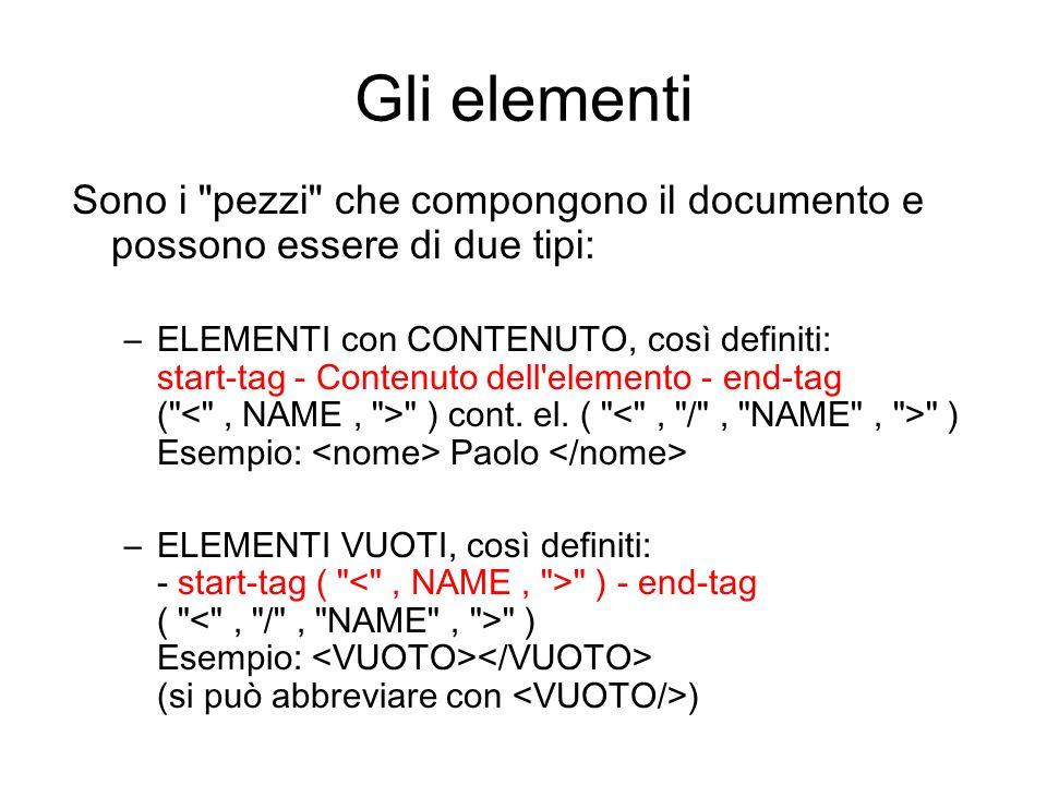Gli elementi Sono i pezzi che compongono il documento e possono essere di due tipi: –ELEMENTI con CONTENUTO, così definiti: start-tag - Contenuto dell elemento - end-tag ( ) cont.