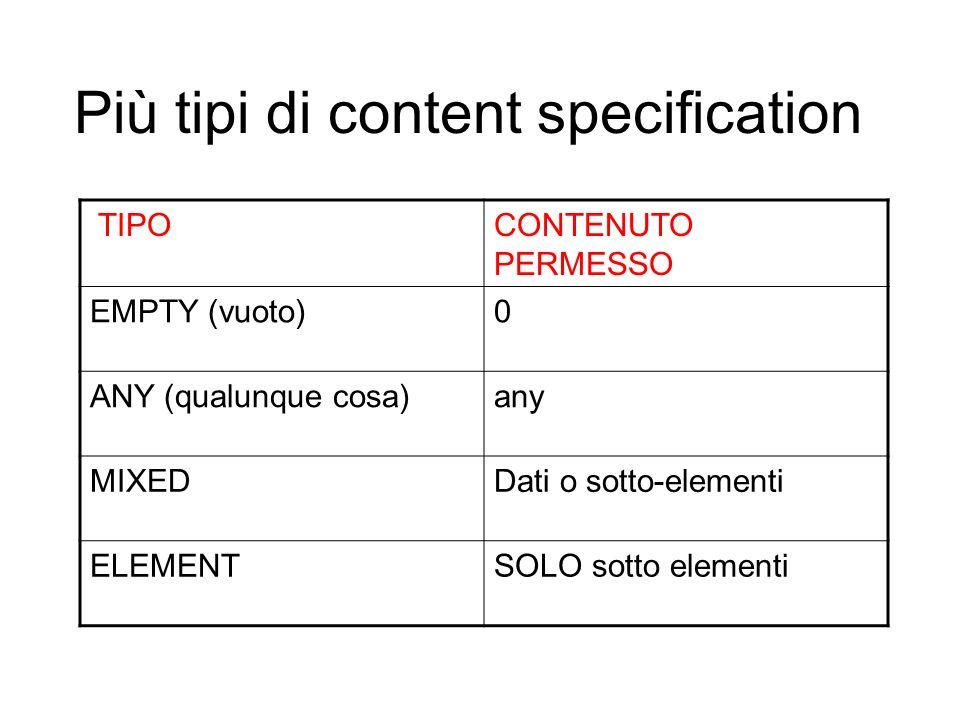 Più tipi di content specification TIPOCONTENUTO PERMESSO EMPTY (vuoto)0 ANY (qualunque cosa)any MIXEDDati o sotto-elementi ELEMENTSOLO sotto elementi