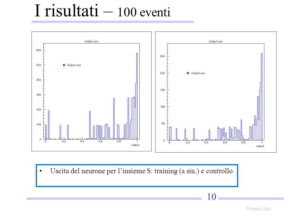 10 Vincenzo Izzo I risultati – 100 eventi Uscita del neurone per linsieme S: training (a sin.) e controllo