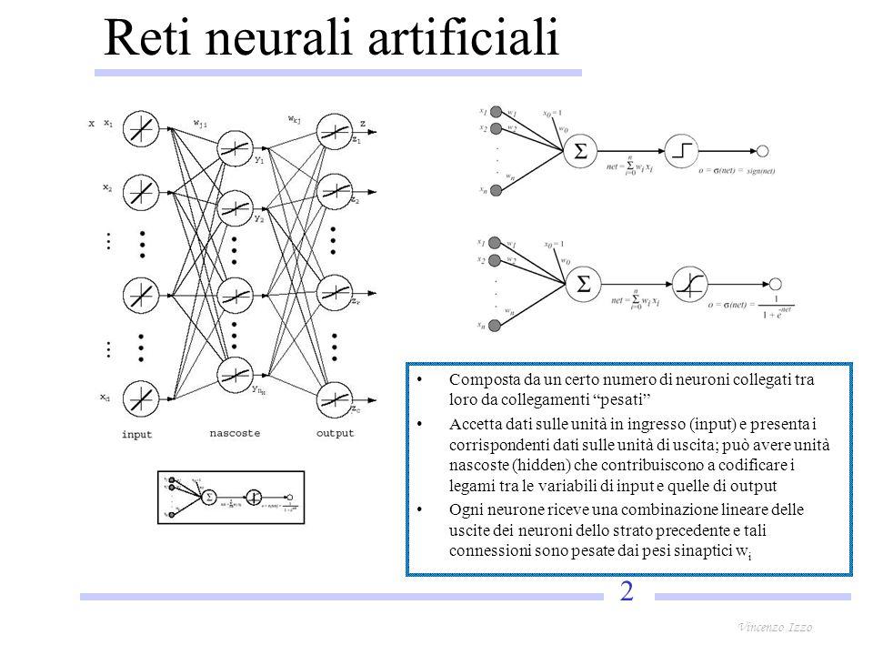 2 Vincenzo Izzo Reti neurali artificiali Composta da un certo numero di neuroni collegati tra loro da collegamenti pesati Accetta dati sulle unità in ingresso (input) e presenta i corrispondenti dati sulle unità di uscita; può avere unità nascoste (hidden) che contribuiscono a codificare i legami tra le variabili di input e quelle di output Ogni neurone riceve una combinazione lineare delle uscite dei neuroni dello strato precedente e tali connessioni sono pesate dai pesi sinaptici w i
